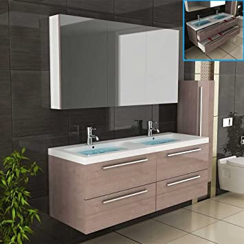 Badmobel Braun Doppelbecken Mit Unterschrank Spiegelschrank Badezimmer Modell Garda 1440 Farbe Braun Badset Waschbecken Und Spiegelschrank Amazon De Baumarkt