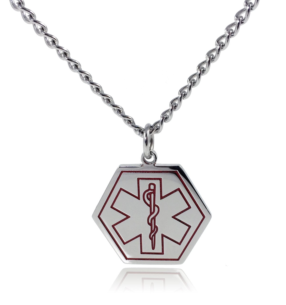 Max Petals - Type 1 Diabetes Medical Alert ID Stainless Steel Pendant Necklace with 26'' Chain