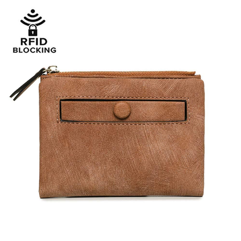 Women RFID Blocking PU Leather Small Bifold Wallet Card Holder Zipper Coin Purse (Brown)