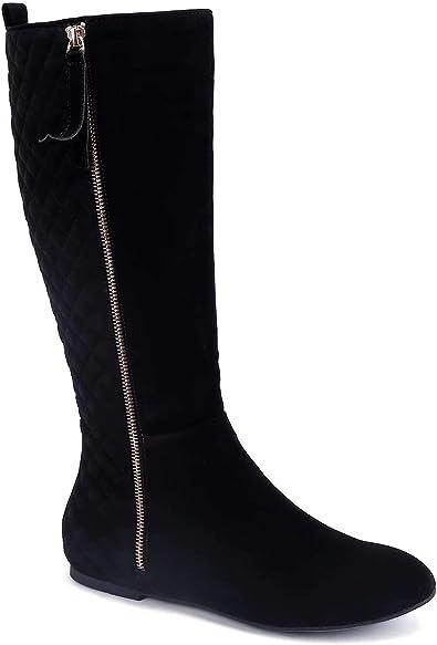 Chaussures avec MaxMuxun Fermeture Plates Femmes Bottes EU Noir Classique à glissière Taille 40 en Daim matelassé 6ybf7gY