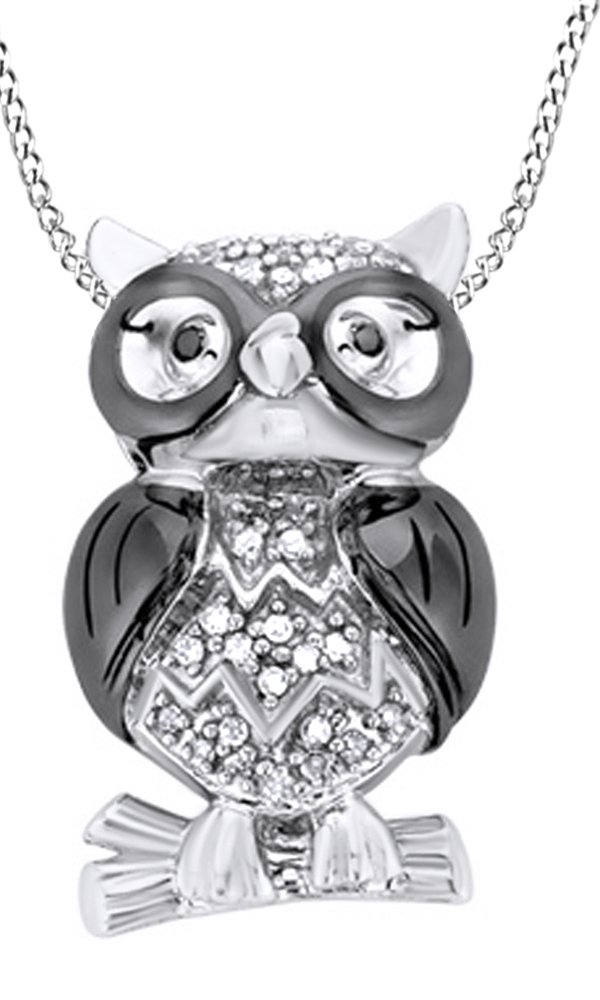 White & Black Natural Diamond Owl Pendant Necklace in 14k White Gold Over Sterling Silver (0.1 Ct)