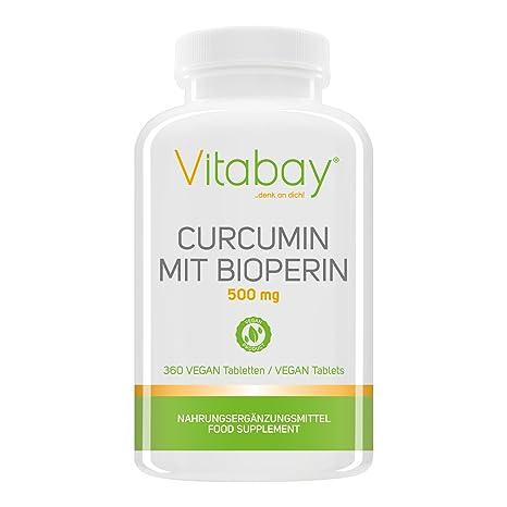 Curcumina con Bioperin 500 mg VEGAN, complejo Curcuma C3, raíz Curcuma Longa (360 comprimidos VEGAN): Amazon.es: Salud y cuidado personal