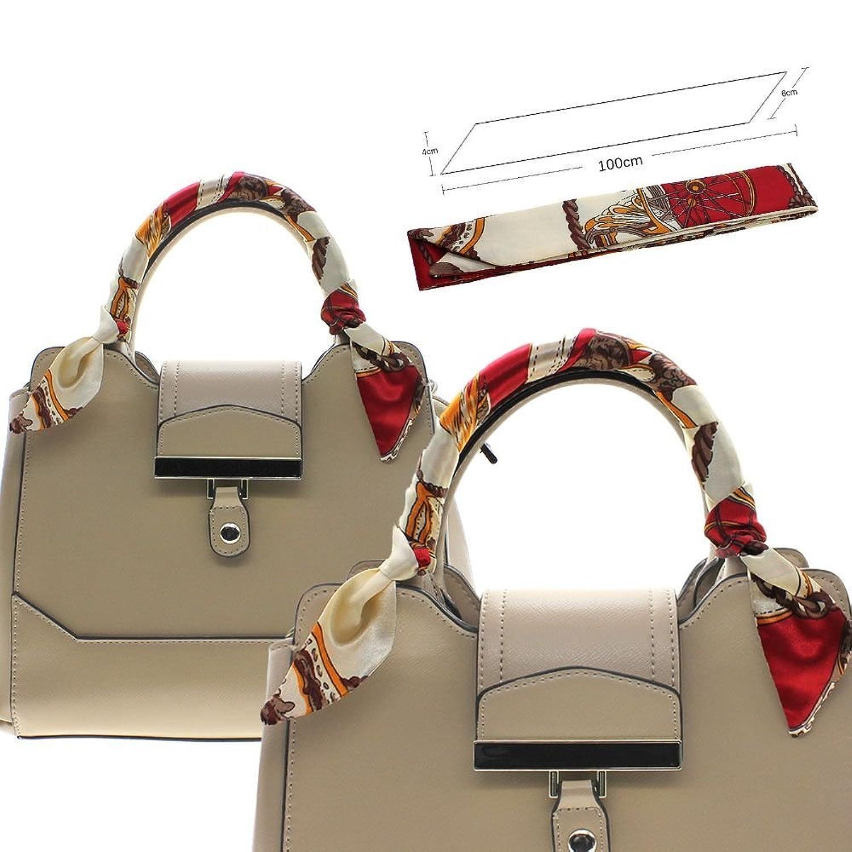 Fashion Lady Girl Twilly Silk Ribbon Buckle Scarf Decoration for Bag Handle - Pattern C 150Pcs