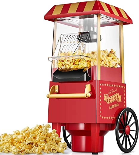 Lecc Máquina de Palomitas de maíz de Aire Caliente, Mini Carro de Palomitas de maíz Vintage, Palomitas de maíz sin Grasa Atractivo diseño Popper de Palomitas de maíz sin Aceite: Amazon.es