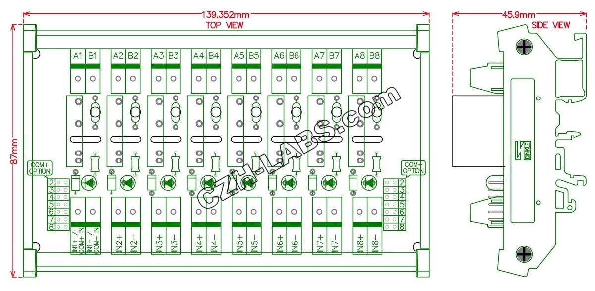 Electronics-Salon DIN Rail Mount DC24V 8 Channels DC-AC 2Amp G3MB-202P Solid State Relay SSR Module Board. by Electronics-Salon