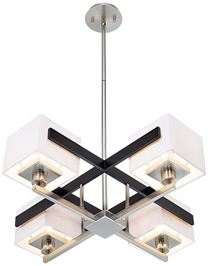 Possini euro design mirrored grids metal and wood chandelier amazon com