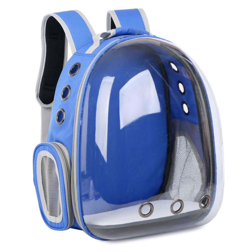 bluee Pet Carrier Backpack, Pet Carrier Space Capsule Backpack with Transparent Breathable Bubble Window for Small Cats and Dog Travel Carrying Cage,bluee