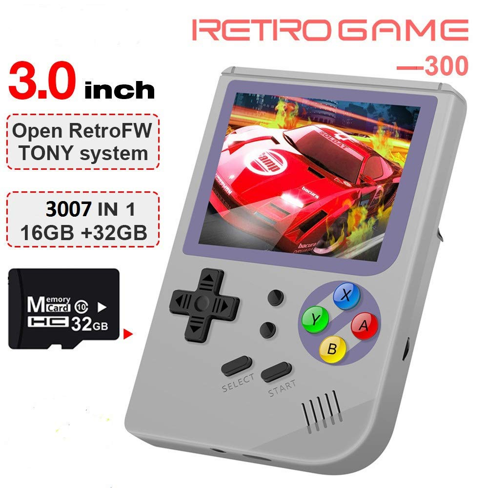 MJKJ Handheld Game Console ,RG300 Retro Game Console OpenDingux Tony System , Free with 32G TF Card Built-in 3007 Classic Game Console 3 Inch HD Screen Portable Video Game Console - Gray