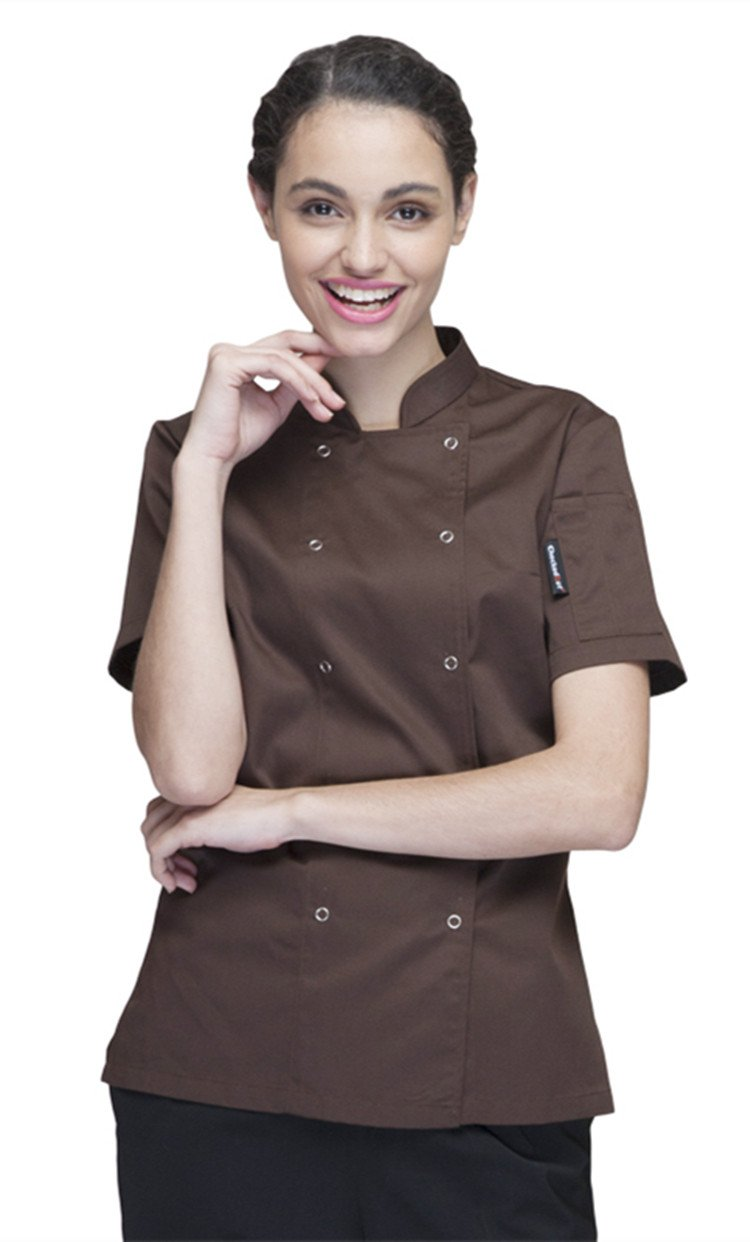 XinAndy Women's Chef Coat Short Sleeves