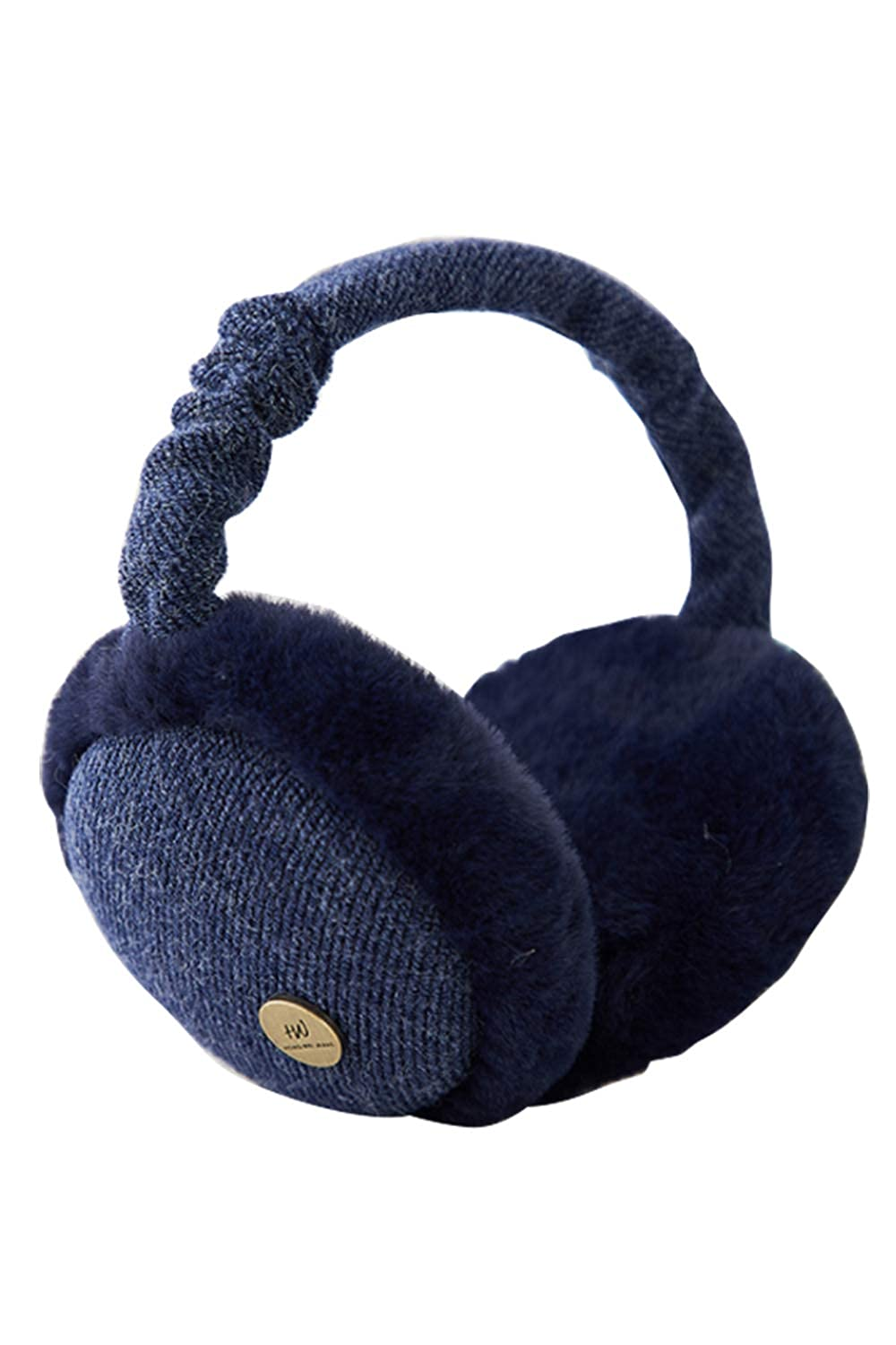 Unisex Winter Earmuffs Foldable Faux Fur Windproof Fold Ear Warmers UKSN759-Navy-F