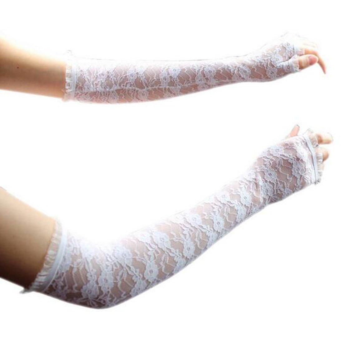 1Pair Women's Summer Sunscreen Thin Long UV Blocking Half Finger Lace Gloves? White DUFU160746