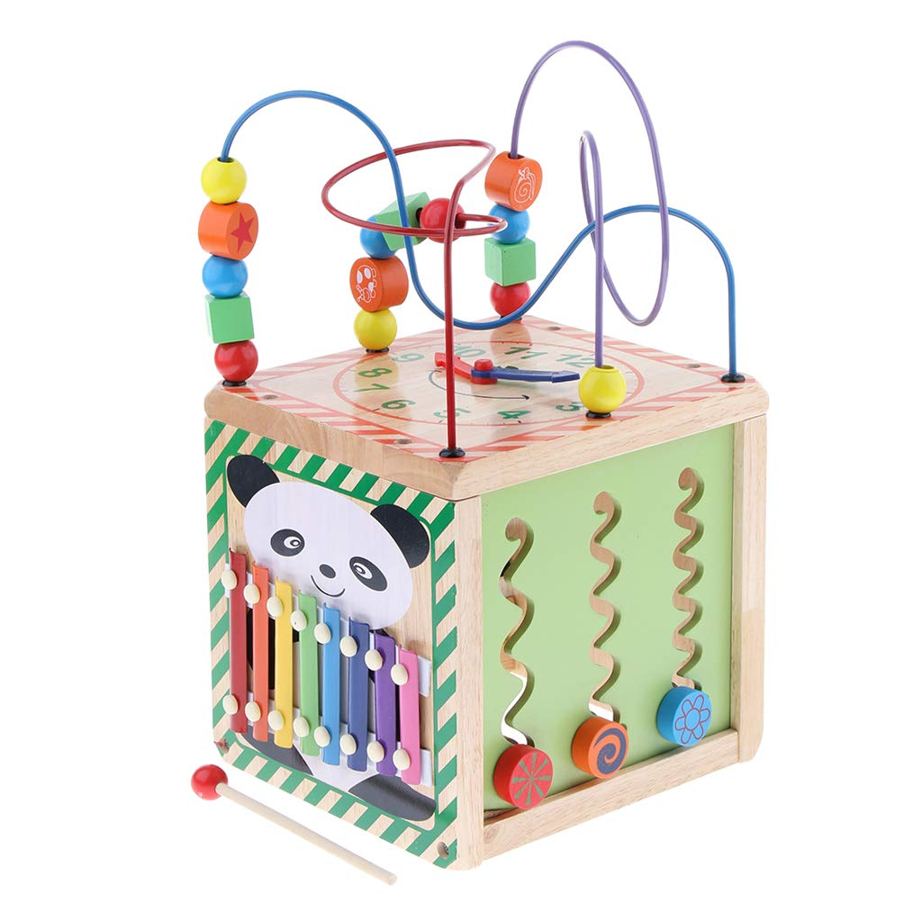 P Prettyia Baby-Holz-Aktivitäts-Würfel-Spiel--Bildungsperle-Mitte-Spielzeug 5 Seiten Spaß