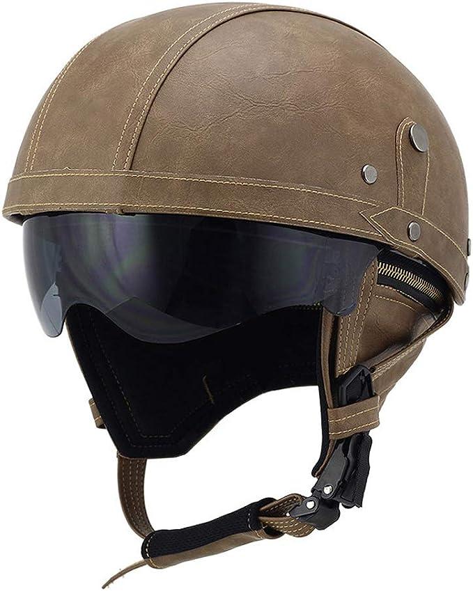 Mangen Lederhalbhelm Motorrad Halbhelme Helm Motorradhelm Vintage Cruiser Roller Touren Sonnenschutz Mit Brille Braun Auto