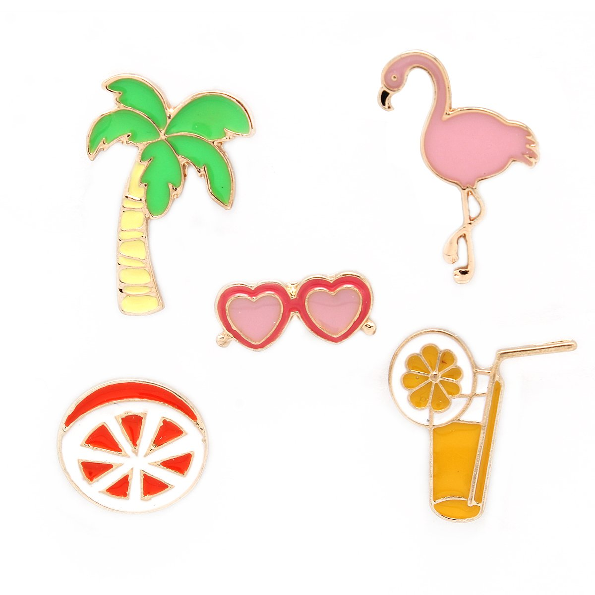 MeliMe Enamel Brooch Pin Set Coconut Flamingo Juice Cute Brooches Summer Style (Style 2)