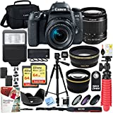 Canon EOS 77D 24.2 MP DSLR Camera with EF-S 18-55mm f/4-5.6 IS STM Lens and Two (2) 64GB SDXC Memory Cards Plus Triple Battery Tripod Cleaning Kit Accessory Bundle