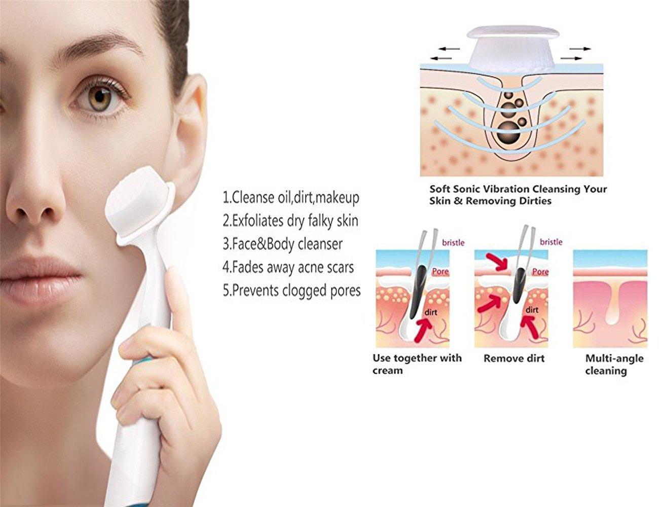 Impermeable acústico Facial sistema de cepillo de limpieza - limpieza profunda Cuidado Facial Mujeres y hombres - efectivos Cleansing cara Blackheads y ...