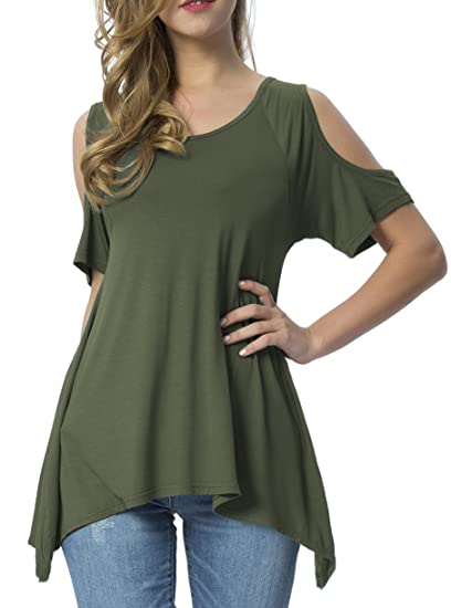 307e61e503a441 Mounblun Womens Casual Cold Shoulder T-Shirt Flowy Swing Tops Army Green S