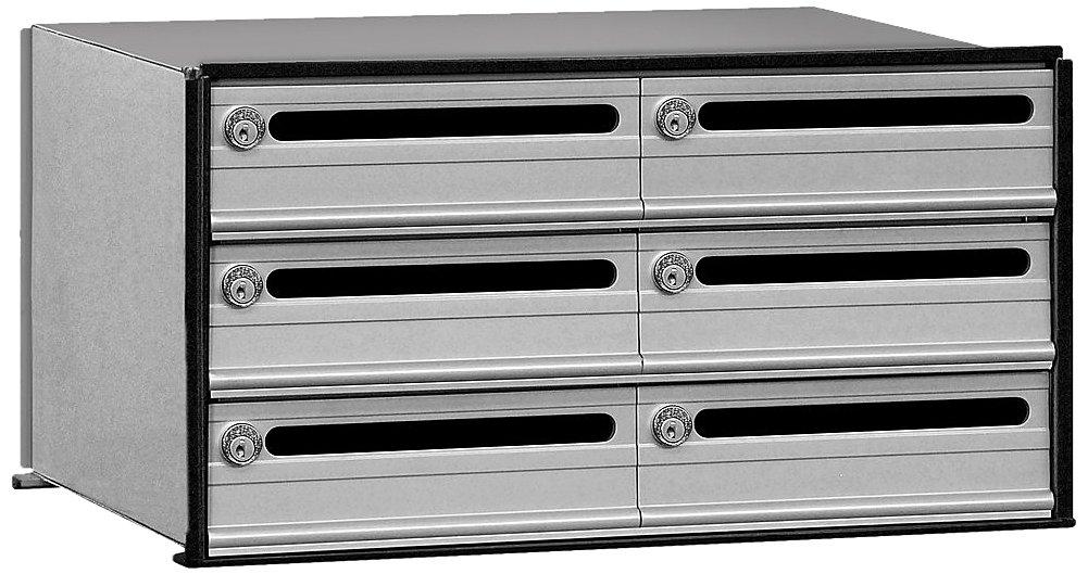 Salsbury Industries 2406 Data Distribution System Aluminum Box, 6 Doors, Aluminum with Black Trim