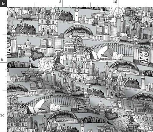 Spoonflower Toile Fabric - Australia De Jouy Black White Architecture and Urban Map Scrummy Print on Fabric by The Yard - Basketweave Cotton Canvas for Upholstery Home Decor Bottomweight Apparel