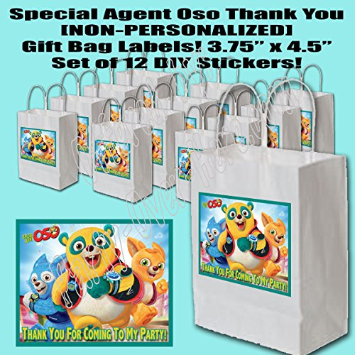 Special Agent Oso Party Favors Supplies Decorations Gift Bag Label STICKERS ONLY 3.75