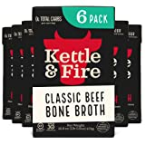 Beef Bone Broth Soup - Organic, Grass Fed, Bone Broth Collagen Protein (10g) - Perfect for Intermittent Fasting, Low Carb, Keto, Paleo, Whole 30 Approved Diets - Gluten Free -16.9 fl oz, Pack of 6