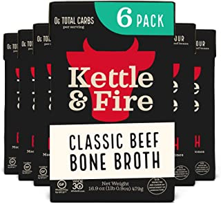 product image for Beef Bone Broth Soup - Organic, Grass Fed, Bone Broth Collagen Protein (10g) - Perfect for Intermittent Fasting, Low Carb, Keto, Paleo, Whole 30 Approved Diets - Gluten Free -16.9 fl oz, Pack of 6