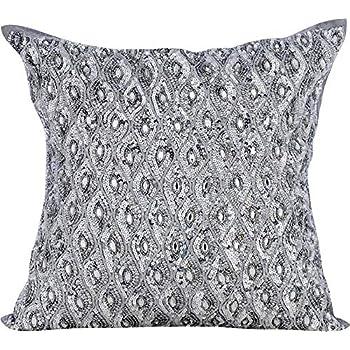 Amazon Com Handmade Silver Throw Pillow Covers