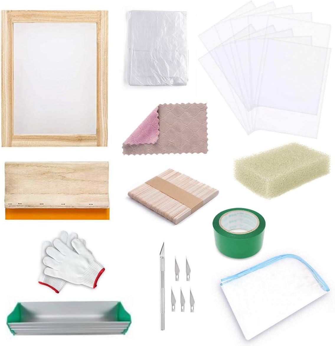 Kit de serigrafía, Runaup Silk Serigrafía Entusiast Kit incluye marco de serigrafía con 110 malla blanca, espátulas de serigrafía, cinta de película transparente