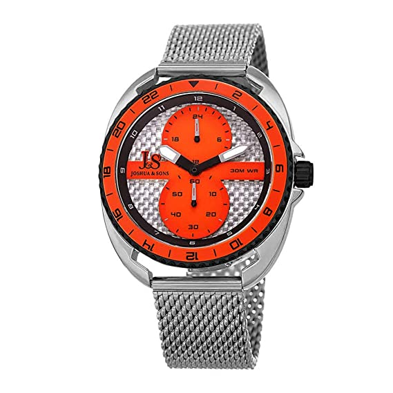 Joshua & Sons - Reloj de pulsera de malla de acero inoxidable pulido para hombre - Pequeño 60 segundos y 24 horas registro multifunción subesferas y bisel ...