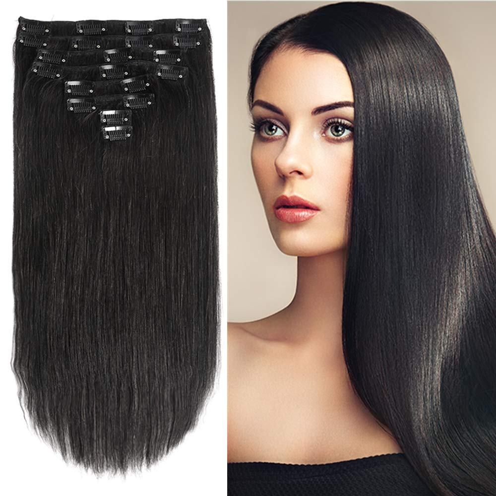 Clip in Hair Extensions Human Hair Jet Black 16'' Clip on Straight Human Hair Extensions Double Weft 8Pcs 20Clips/Lot 120g Grade 8A Quality Full Head Thick Soft Silky Brazilian Human Hair Extensions by LYNETTE