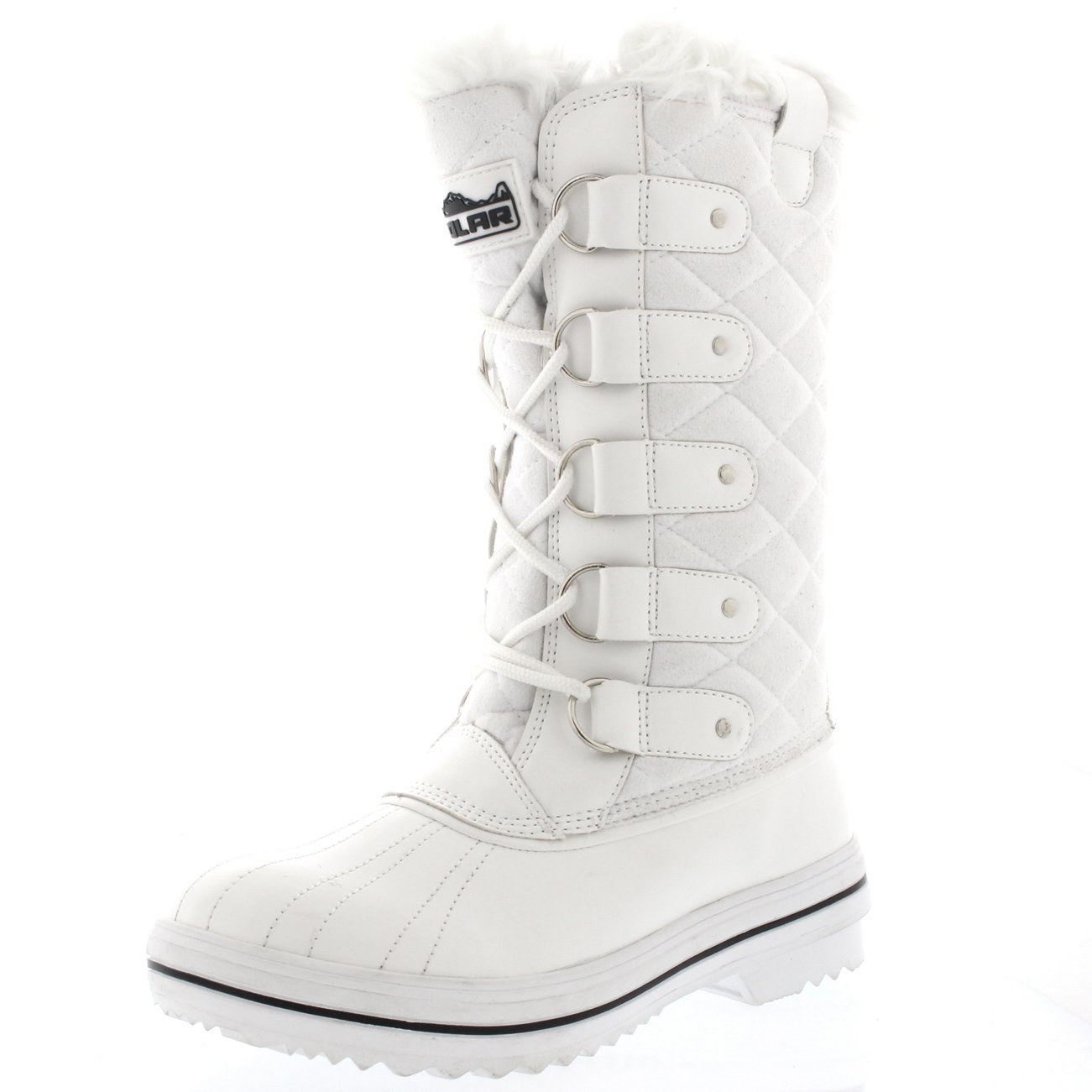 Polar Products Womens Snow Boot Quilted Tall Winter Snow Waterproof Warm Rain Boot - 9 - WHS40 YC0004