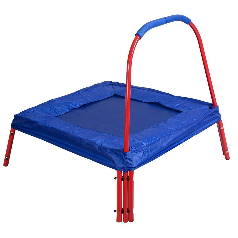 Jumping Trampoline Square 3' x 3' FT Blue Outdoor Kids with Handle Bar and Safety Pad - Have Fun With Jumping Safely