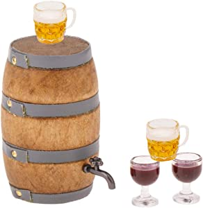 Hiawbon Mini House Drink Accessories Miniature Wooden Beer Barrel Figurine Wine Barrel Model with Faucet and Wine Glass for Fairy Garden Pub Bar Decoration