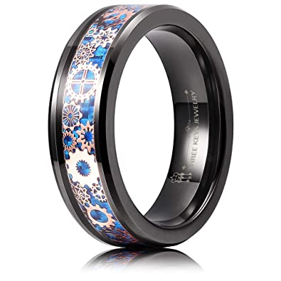 5253d71e5 THREE KEYS JEWELRY 6mm Tungsten Rings Black Punk Seal Gear Mechanical Dark  Blue Carbon Fiber Gold