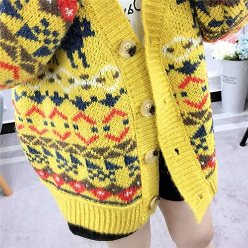 Modle en Manteau Impression Cou Automne Femme Hiver Gelb Tricot Jumper Jeune V Manches Branch Coat Mode Longues Basic Manteaux Bouffant Vetement Cardigan gxqwqfdAz