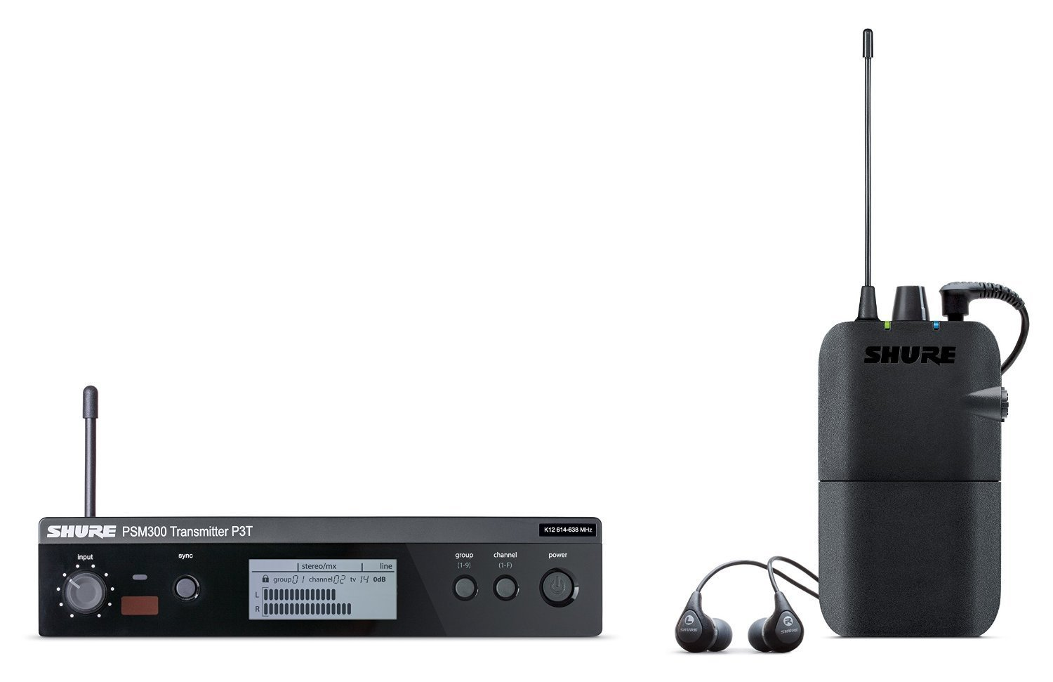 Shure P3TR112GR PSM300 Wireless Stereo Personal Monitor System with SE112-GR Earphones, H20