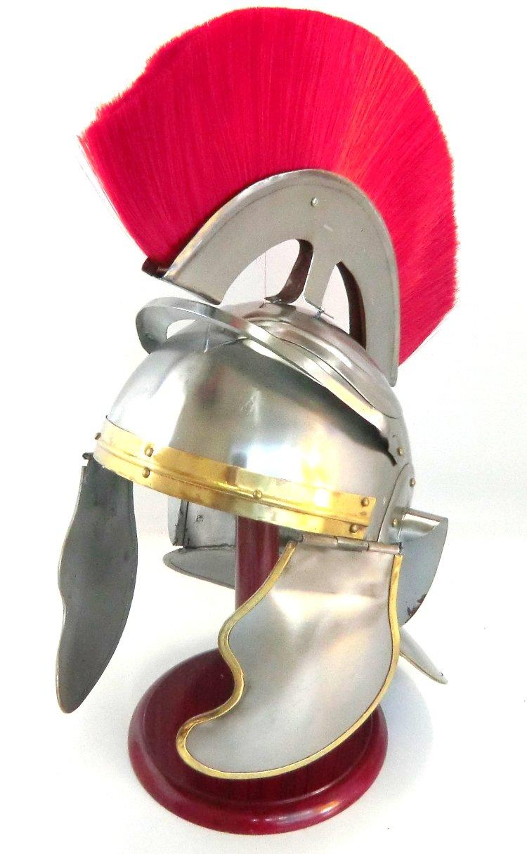 TH1007 古代ローマ 18ゲージスチール 馬毛飾り付きオフィサーヘルム   B07C6P1QPM