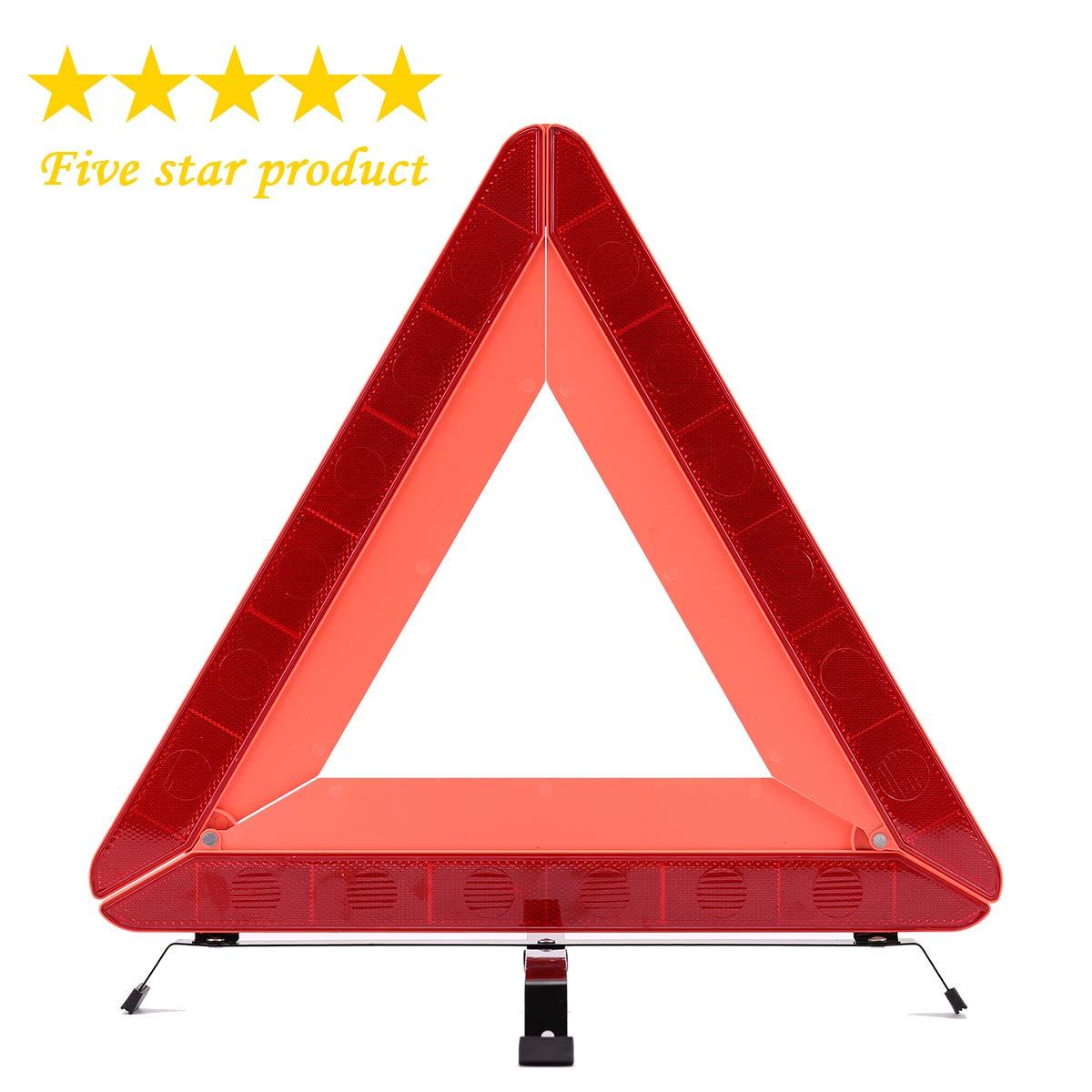 Deutschauto Pliable de Voiture d'urgence Triangle, réfléchissant Avertissement Sécurité routière Triangle kit réfléchissant Avertissement Sécurité routière Triangle kit
