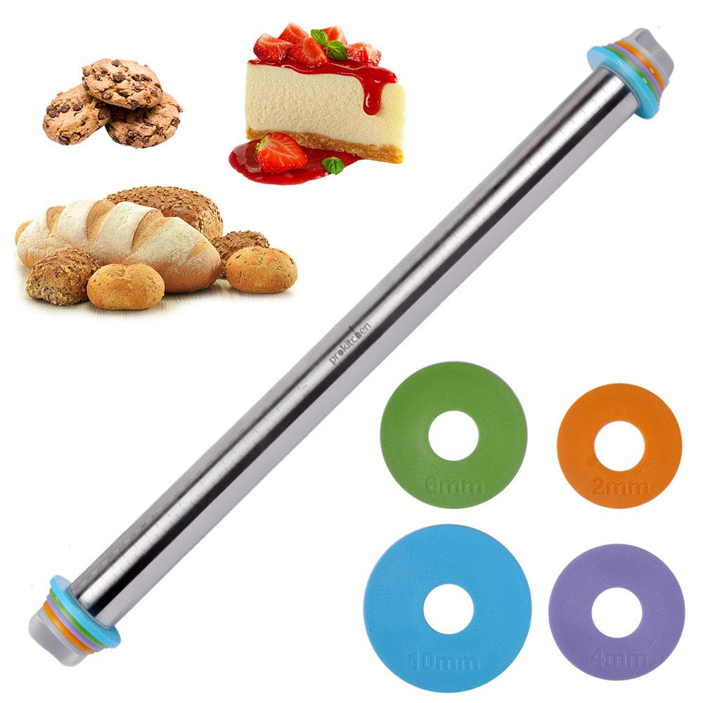 23.6 Inch Adjustable Stainless Steel Rolling Pin Dough Roller with Removable Thickness Rings Guides Spacers Baking Tools for Dough Pizza Pie Cookies by PROKITCHEN