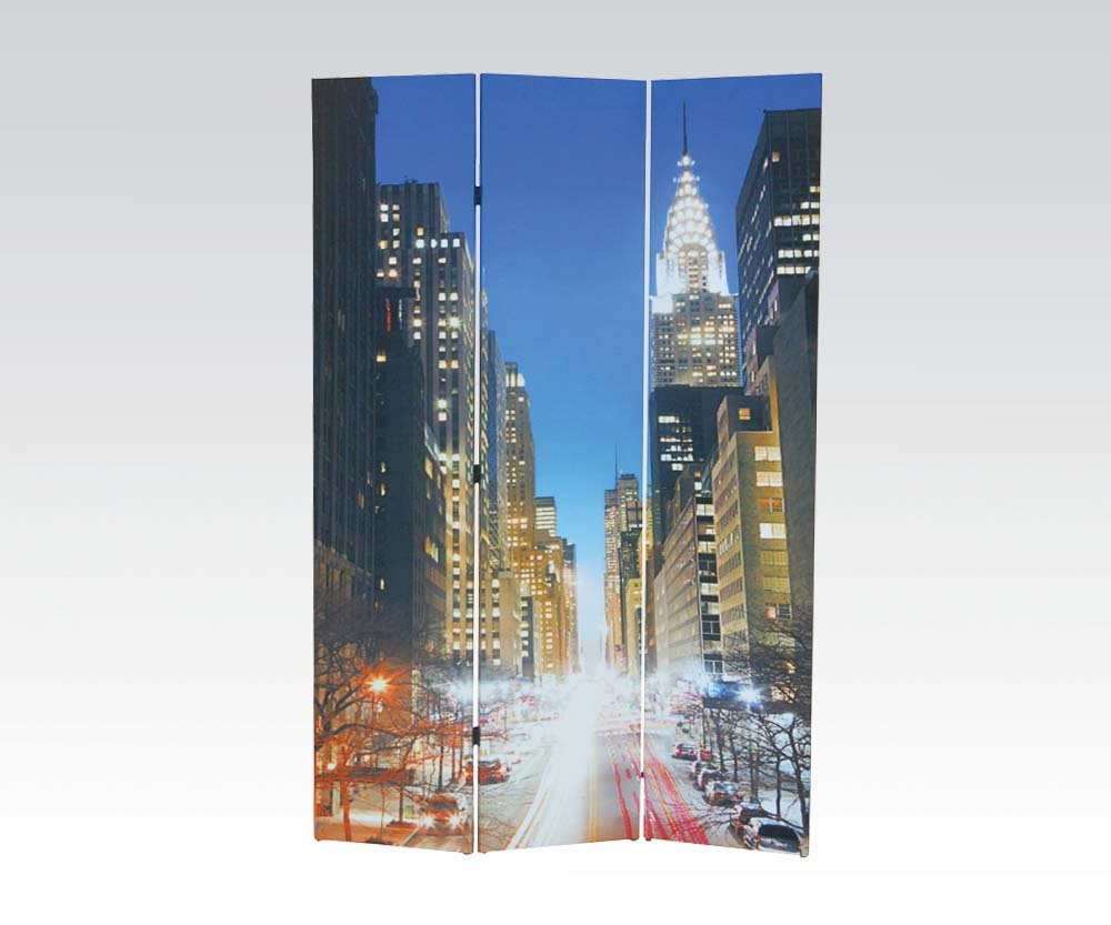 Brand New Trudy City Theme (16''x3) x71''H Scenery Design 3-panels Wooden Screen Room Divider