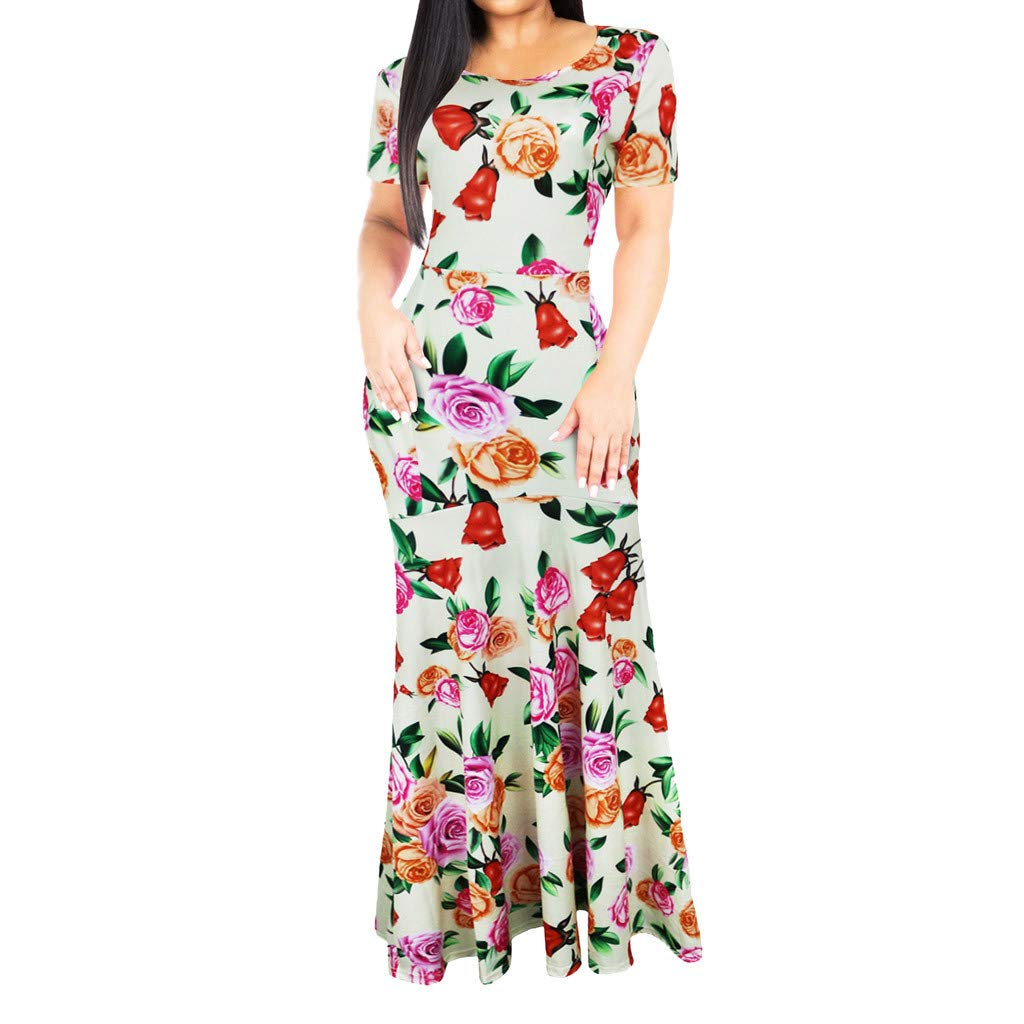 Giulot Women's Vintage Plus Size Floral Printed Maxi Dress Boho Pleated Swing Hawaii Beach Sundress Evening Gowns Beige by Giulot