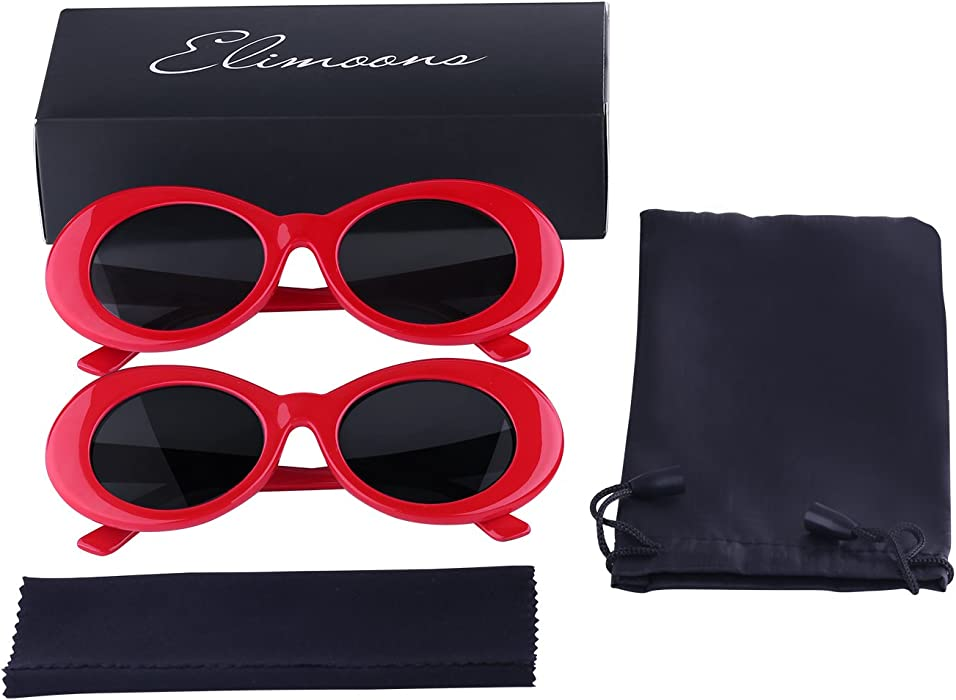 957d601789 ... Elimoons Bold Retro Oval Mod Thick Frame Clout Goggles Sunglasses Round  Lens 2 Pack