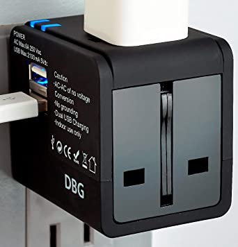 Review Travel Adapter Worldwide All-in-One Universal Plug AC Power International with Dual Fast Charging USB Ports for European to USA EU UK AU Italy India Sweden Sell Phone Laptop Mac Book