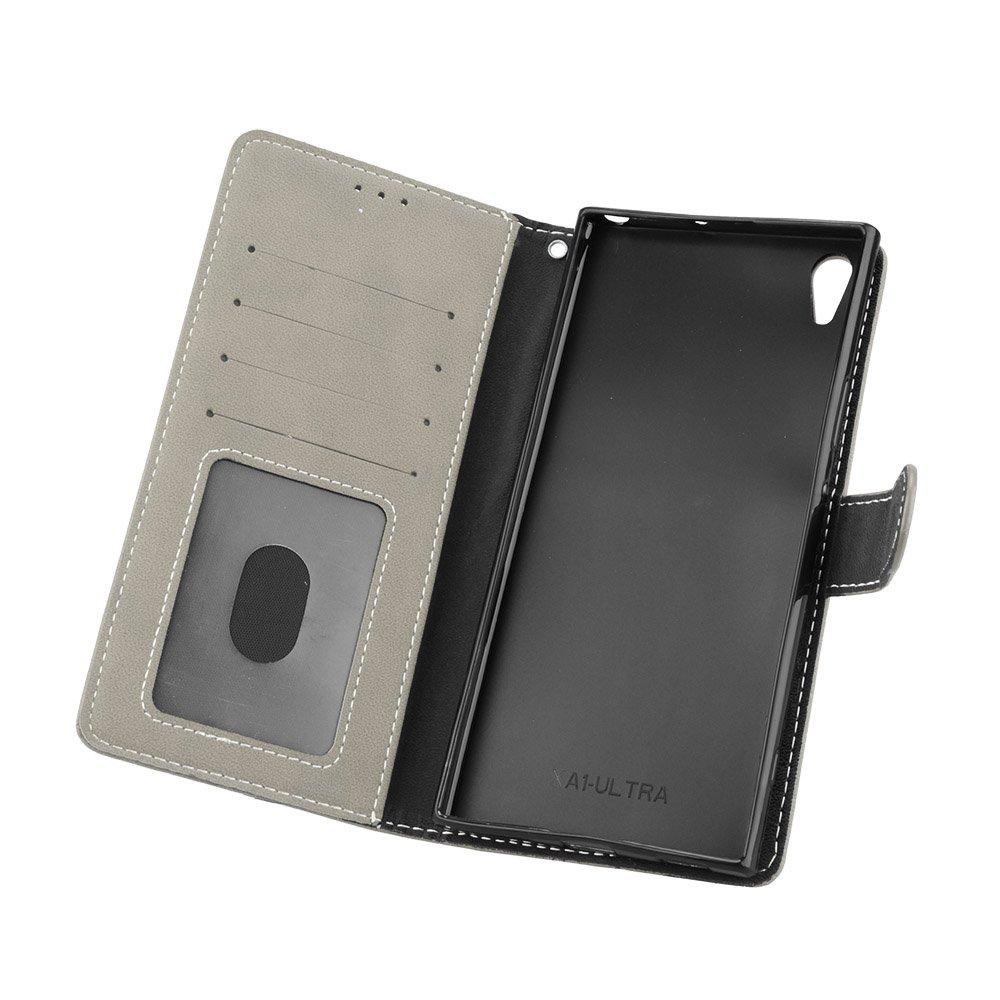 Para Sony Xperia XA1 Ultra Funda Negro Retro Frosted 3 Card Slots Cuero De La PU Magn/ético Capirotazo Billetera Apoyo Bumper Protector Cover Funda Carcasa Case
