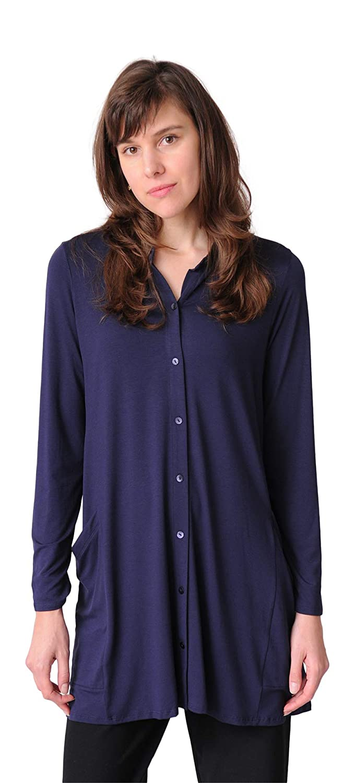 cef7ab0f3a3 Eileen Fisher Lightweight Viscose Jersey Mandarin Collar Tunic (Small) Navy  at Amazon Women's Clothing store: