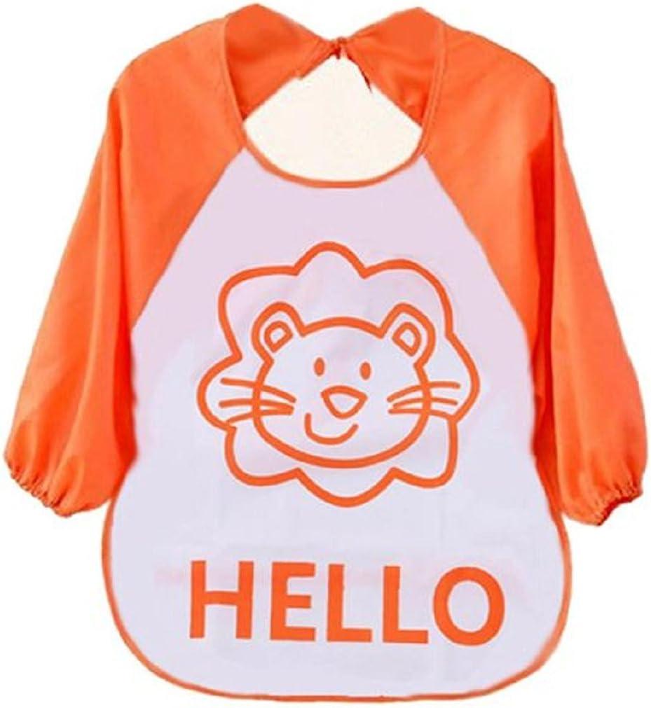 Auxma de dibujos animados Los niños para niños plástico translúcido suave para bebés baberos impermeables(naranja)
