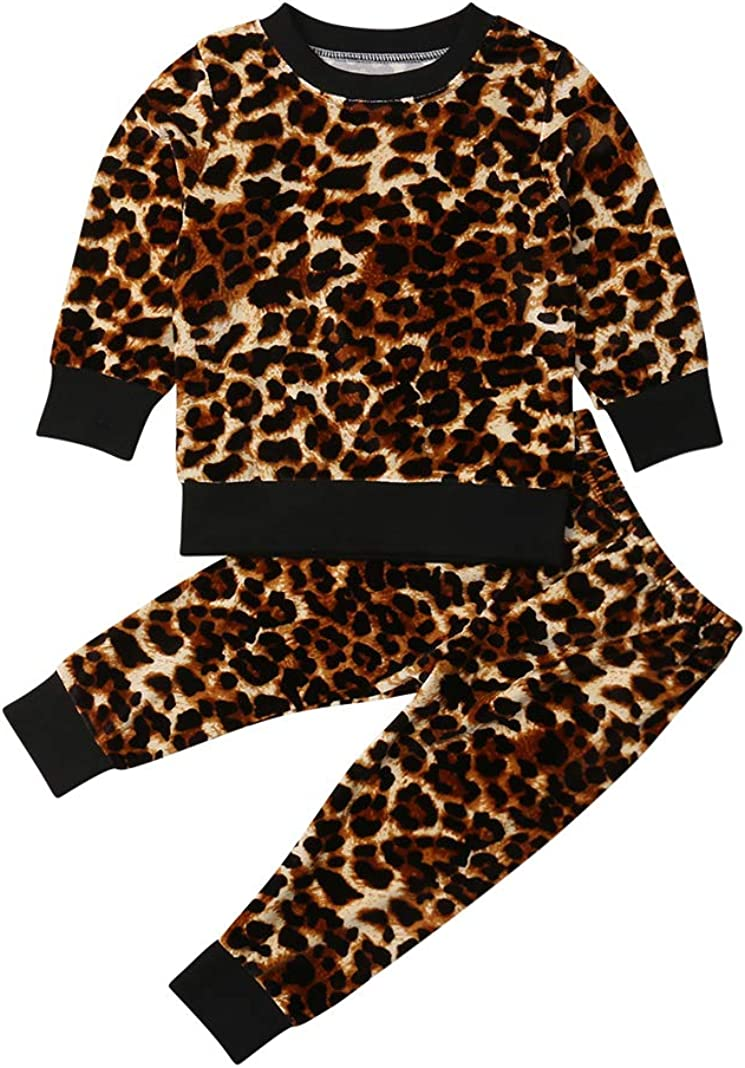 EYIIYE Toddler Baby Girl Leopard Velvet Outfit Long Sleeve Sweatshirt Tops and Pants 2pcs Fashion Kids Clothes Fall Winter