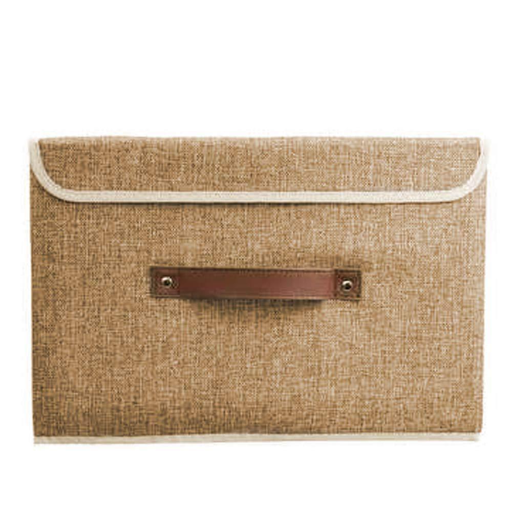 FOONEE COT Storage Bin, Cassette in Box, Scatola portaoggetti Pieghevole con coperchi Andhandles cesta portaoggetti Brown