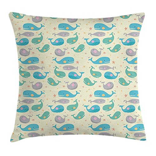 Whale Decor Throw Pillow Cushion Cover by, Cute Tiny Whales and Stars Perfect for Toddler and Baby Rooms Artwork, Decorative Square Accent Pillow Case, 18 X18 Inches, Blue White and Grey