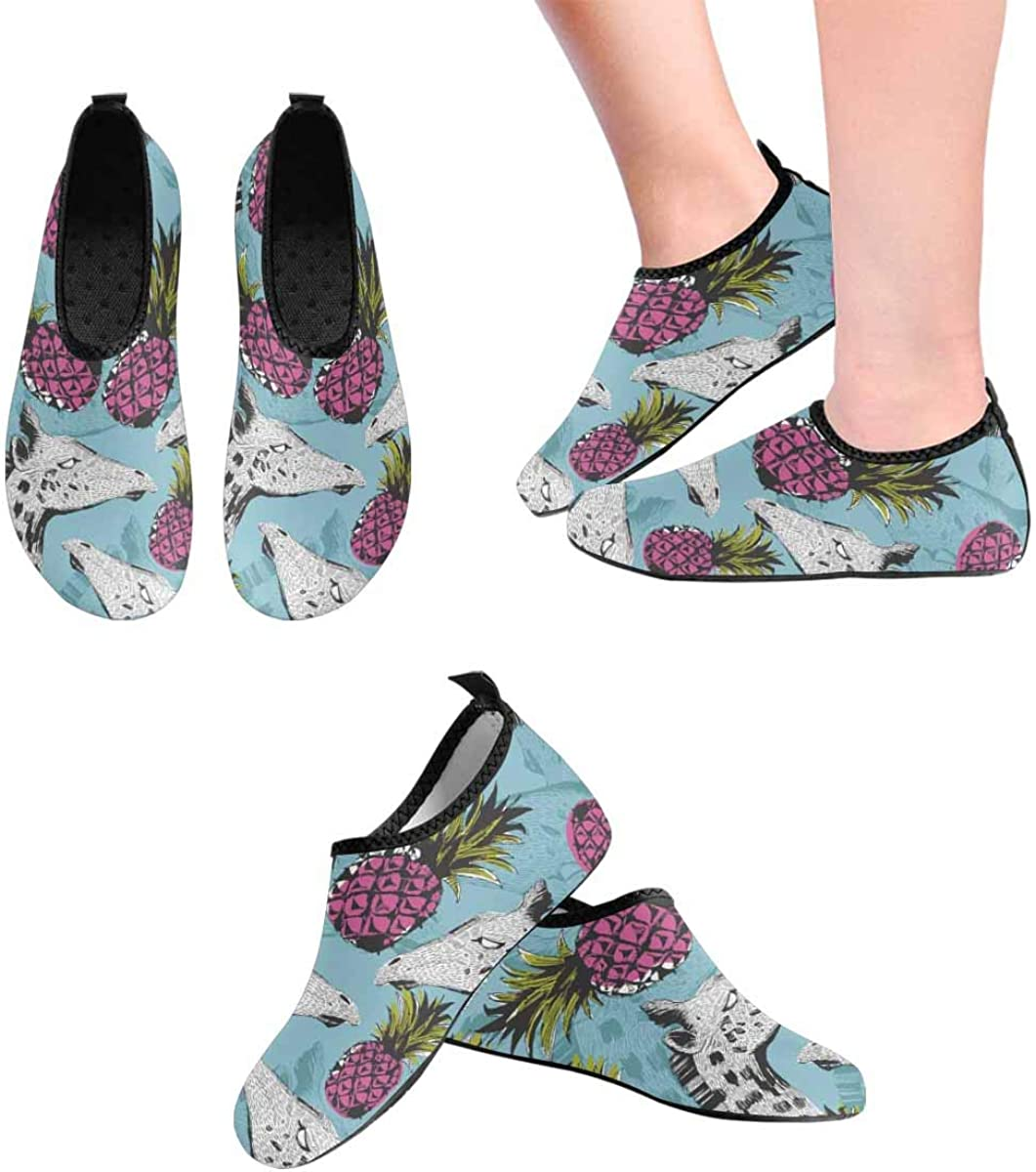 INTERESTPRINT Mens Water Shoes Giraffe Pineapple Beach Swim Shoes Quick Dry Aqua Socks Pool Shoes